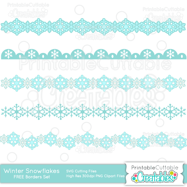 Winter Snowflakes Borders Free SVG Cut Files & Clipart Set.