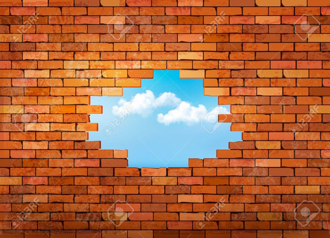 Vintage brick wall background with hole. Vector.