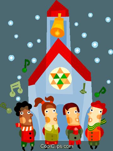 Children singing Christmas carols Royalty Free Vector Clip Art.