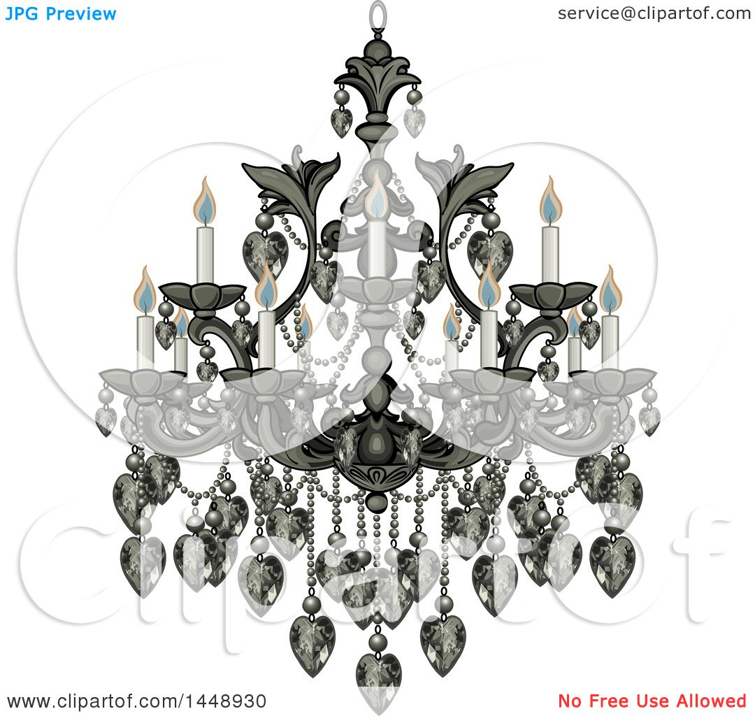 Clipart of a Beautify Fancy Chandelier with Lit Candles.
