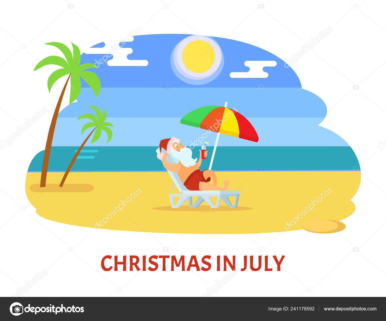 Christmas in July Relaxing Holiday on Beach Vector — Stock Vector.