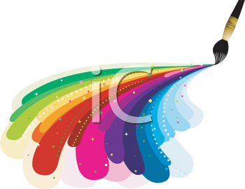 Royalty Free Clipart Image of a Paintbrush Painting Rainbow Colours.