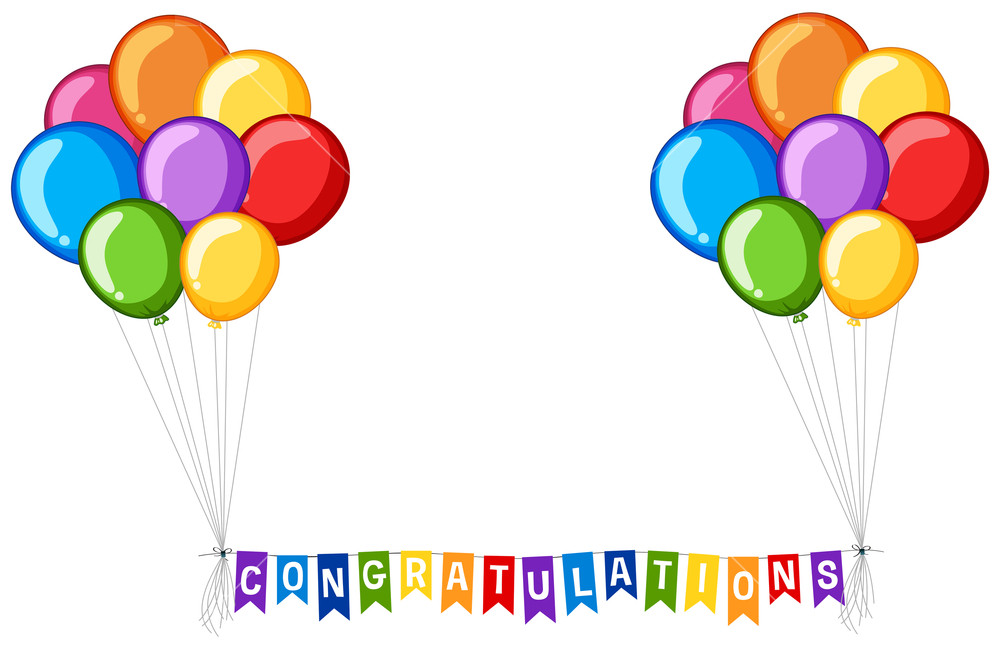 Background design with balloons and word congratulations Royalty.