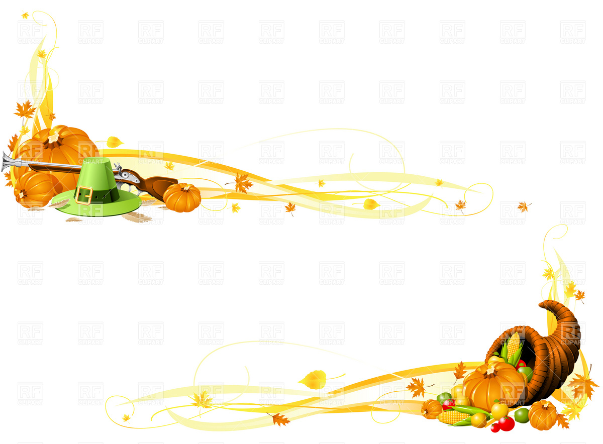 Thanksgiving banners with Cornucopia and Pilgrim Hat Vector Image.
