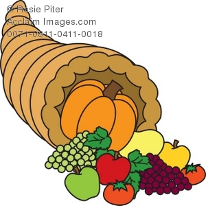 Royalty Free Clipart Illustration of a Thanksgiving Cornucopia.