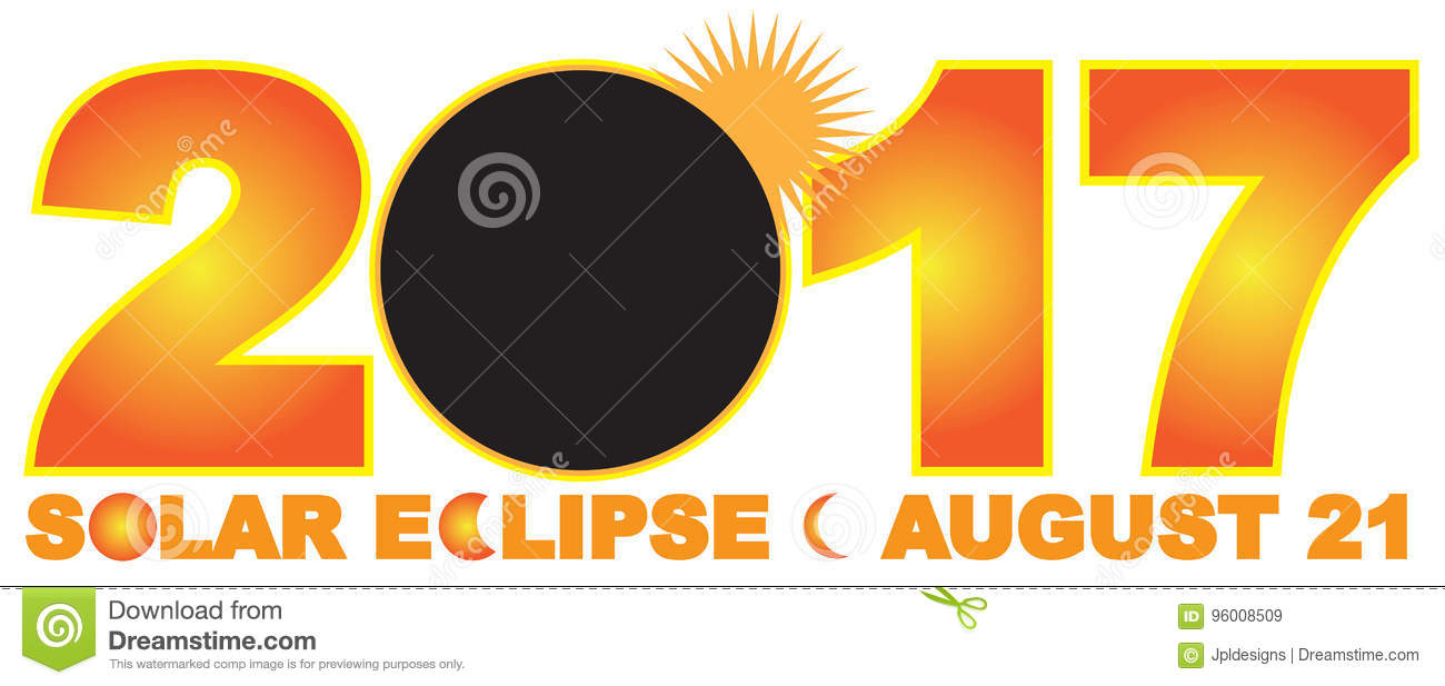 2017 Solar Eclipse Numeral Text Vector Illustration Stock Vector.