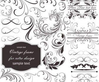 Floral frame embellishment vector.