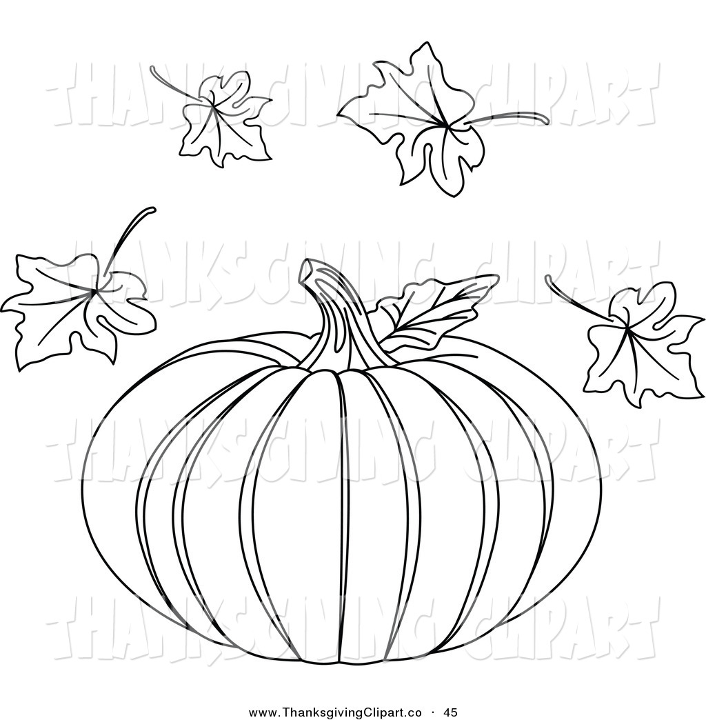Pumpkin With Fall Leaves Clipart Black And White.
