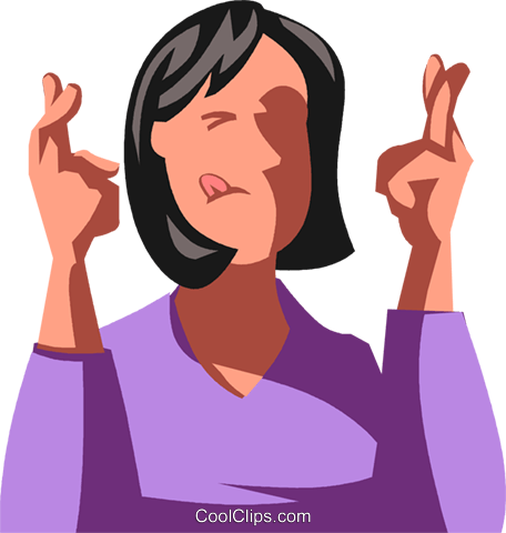 woman with her fingers crossed Royalty Free Vector Clip Art.