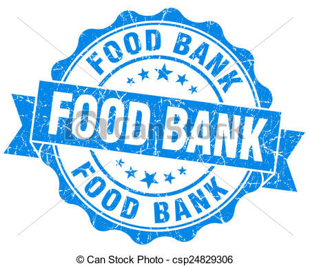food bank blue grunge seal isolated on white.