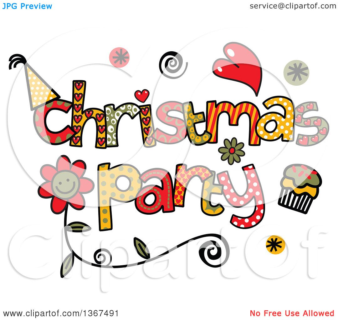 Clipart of Colorful Sketched Christmas Party Word Art.