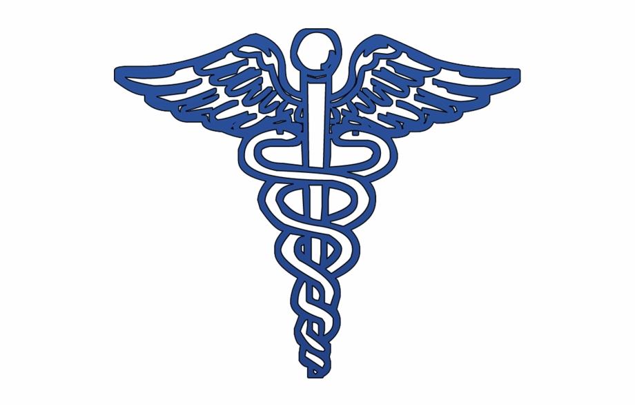 Blue Caduceus Medical Symbol.
