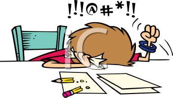 Royalty Free Clipart Image of a Frustrated Person Doing Taxes or.