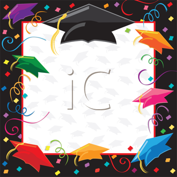 Royalty Free Clipart Image of a Graduation Frame.