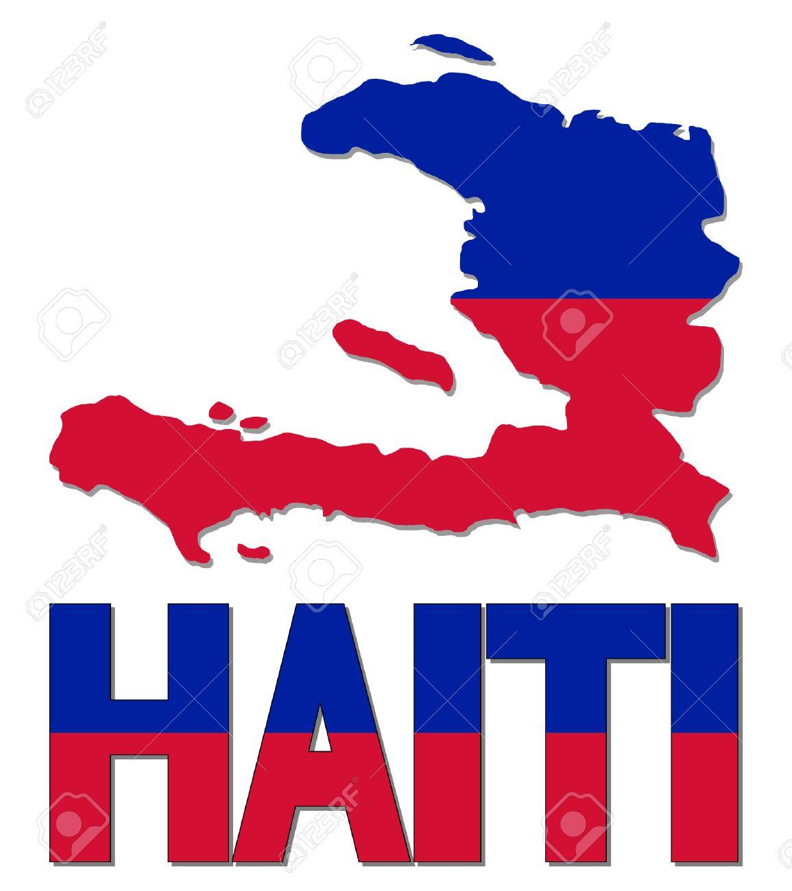 Haiti map flag and text vector illustration.