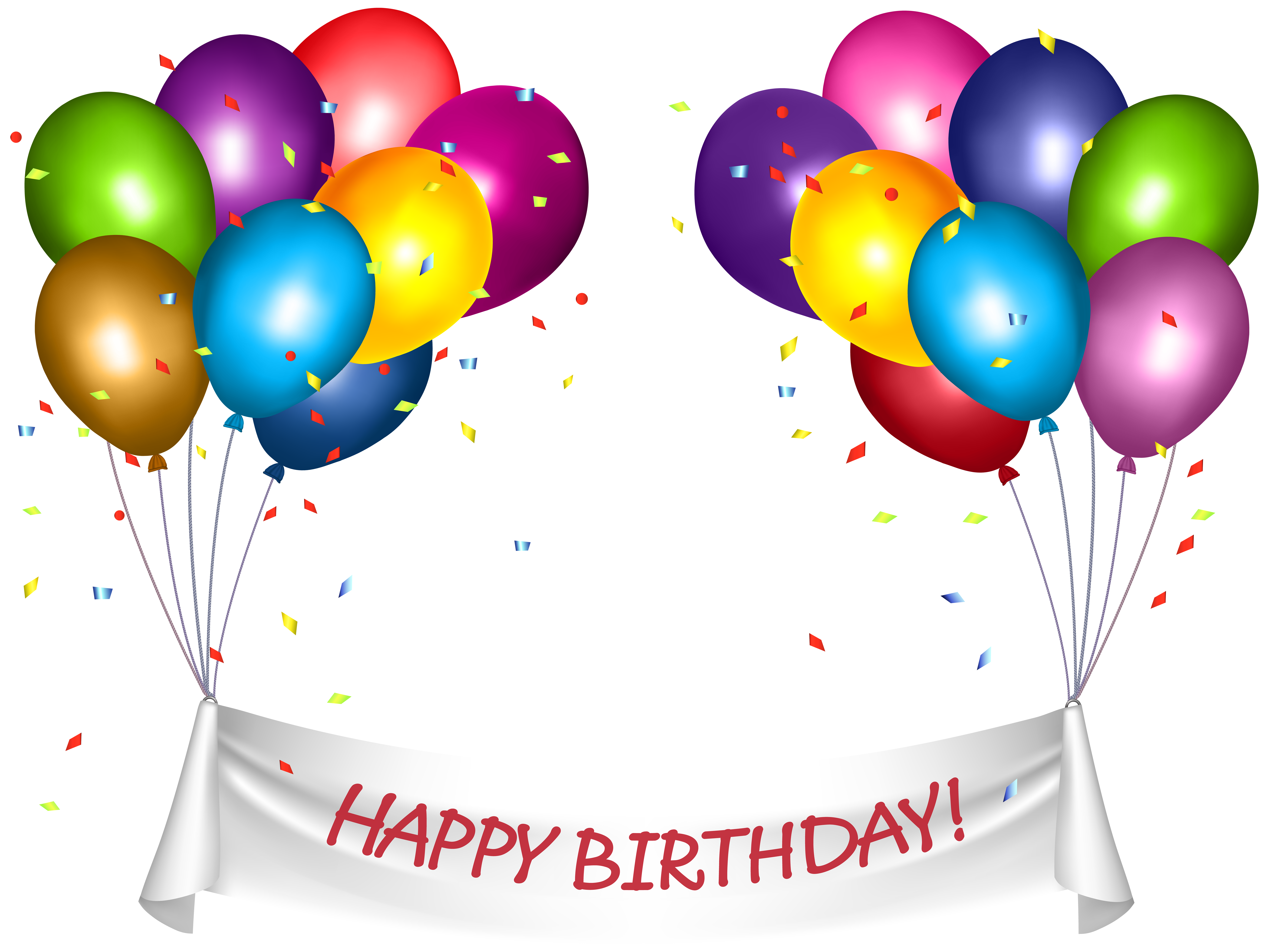 Transparent Happy Birthday Banner and Baloons PNG Clip Art.