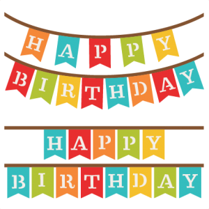 Happy Birthday Banners SVG scrapbook cut file cute clipart files for.