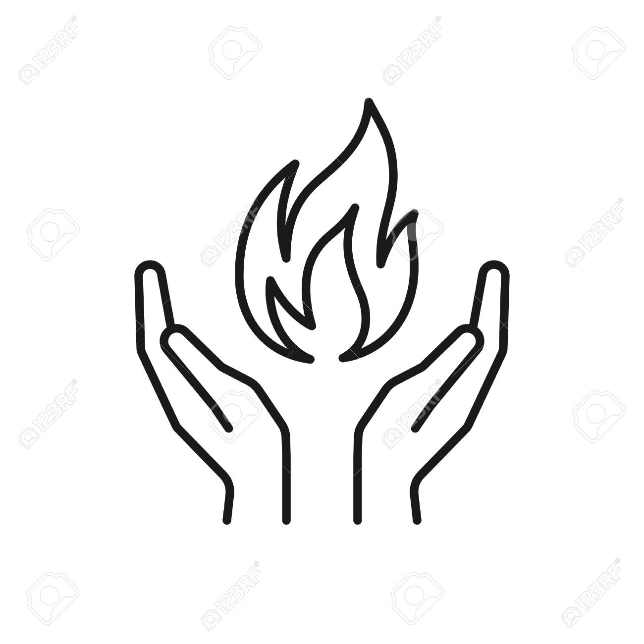 Isolated black outline icon of flame in hands on white background.