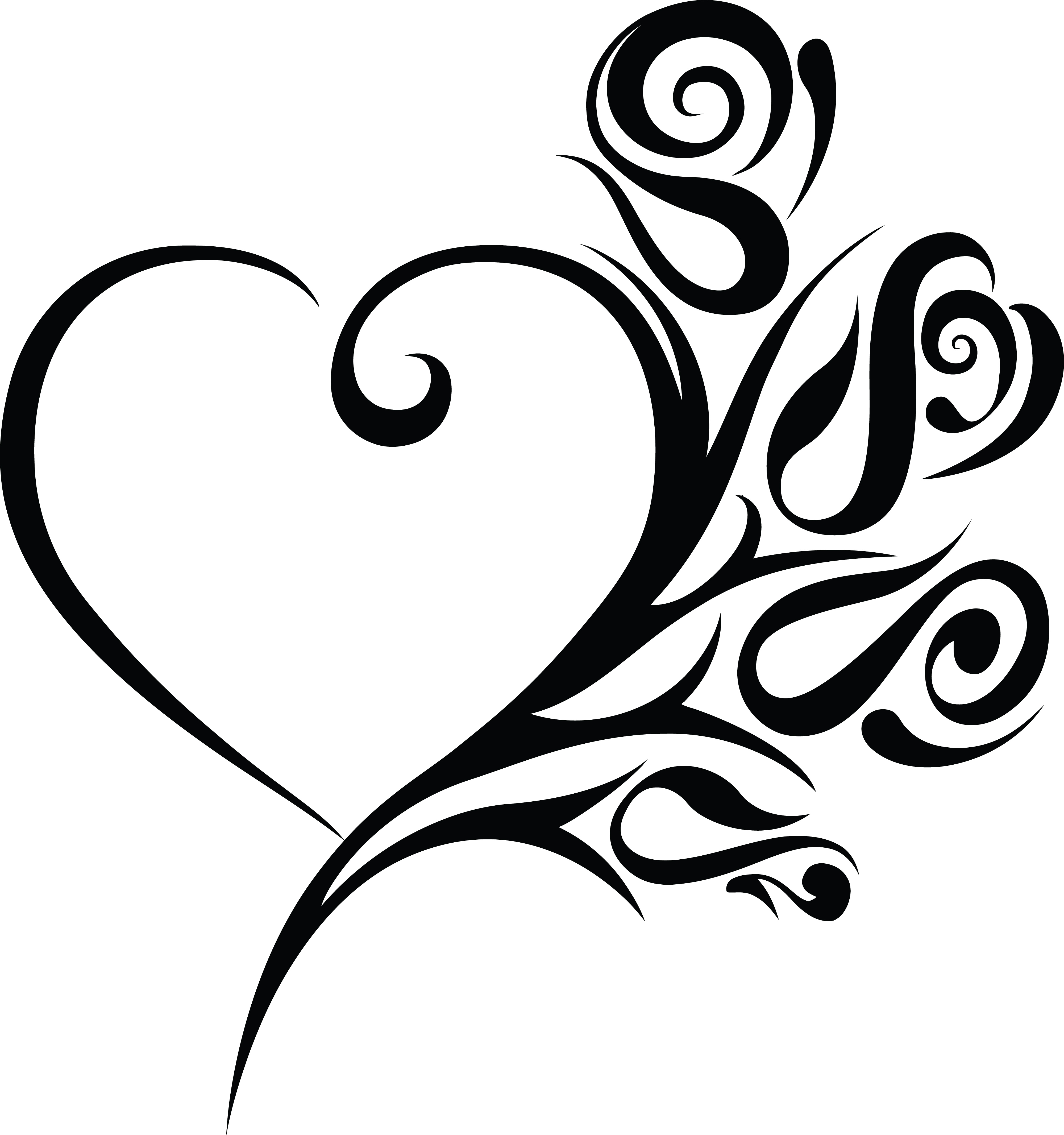 Free Clipart of a heart wedding frame with black and white tribal roses.