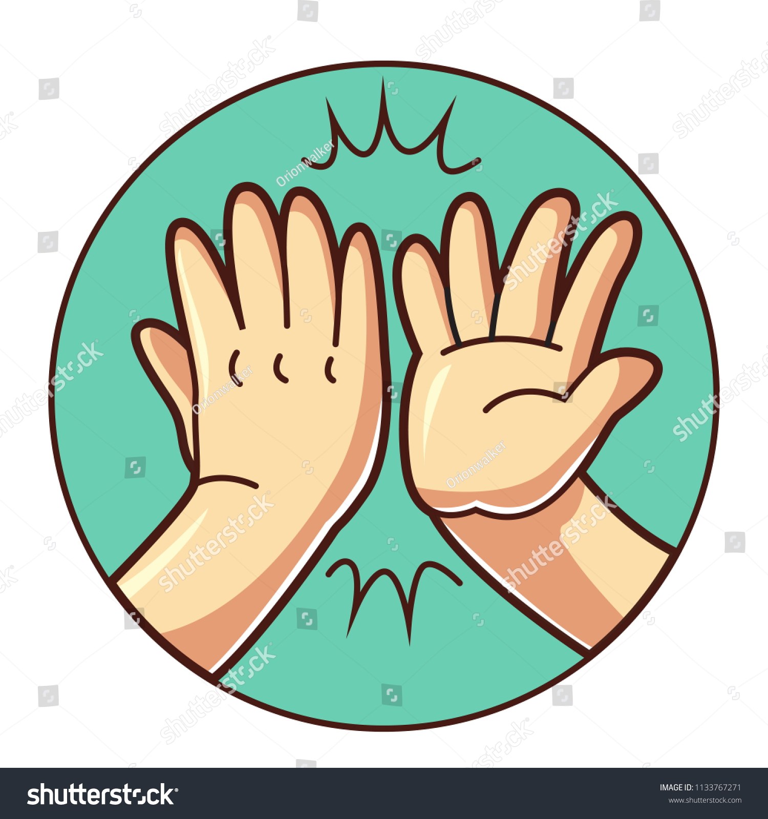 High Five Hand Stock Vector (Royalty Free) 1133767271.