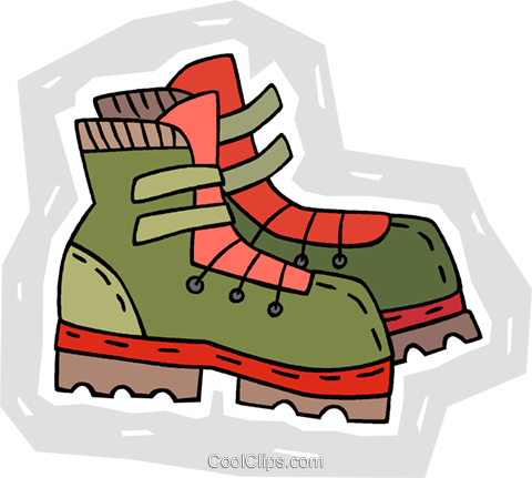 hiking boots Royalty Free Vector Clip Art illustration.