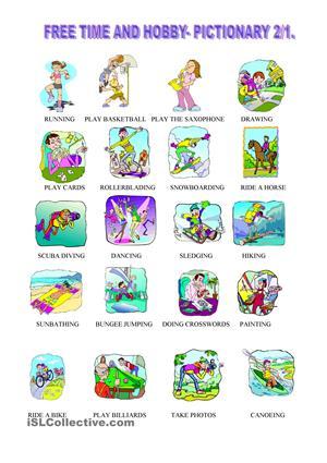 352 FREE ESL Hobbies worksheets.