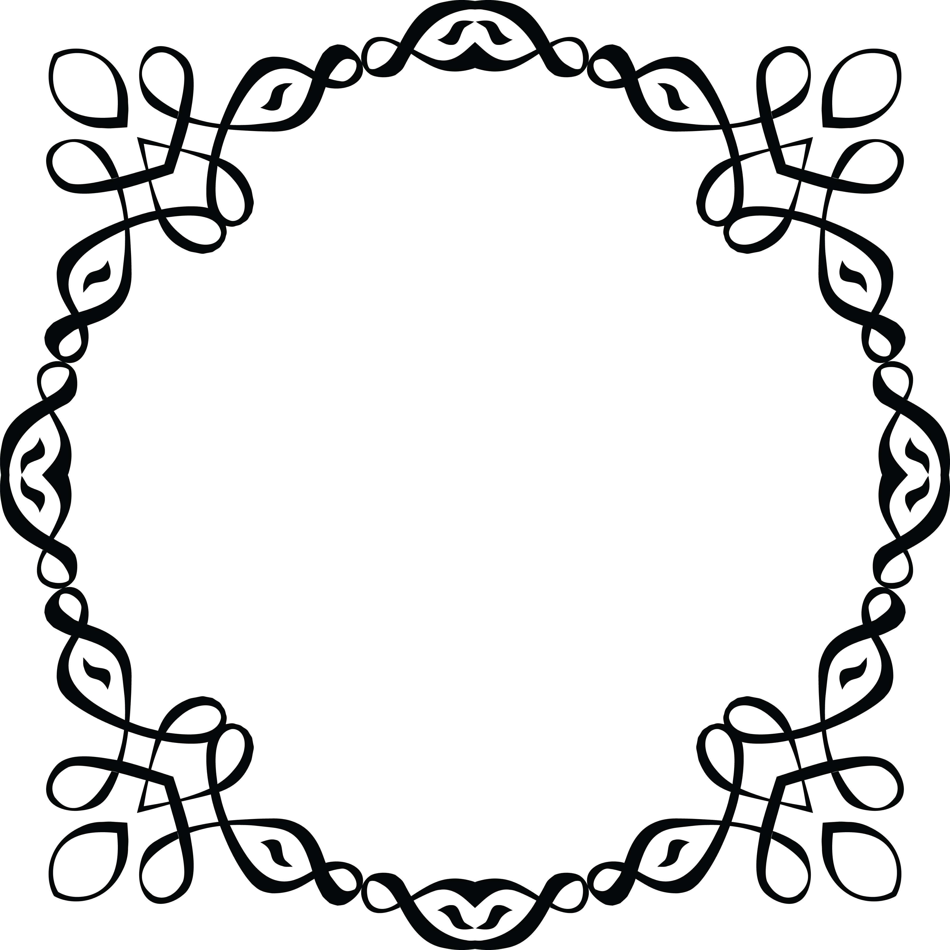 Free Clipart of a Black and White Round Invitation Border.