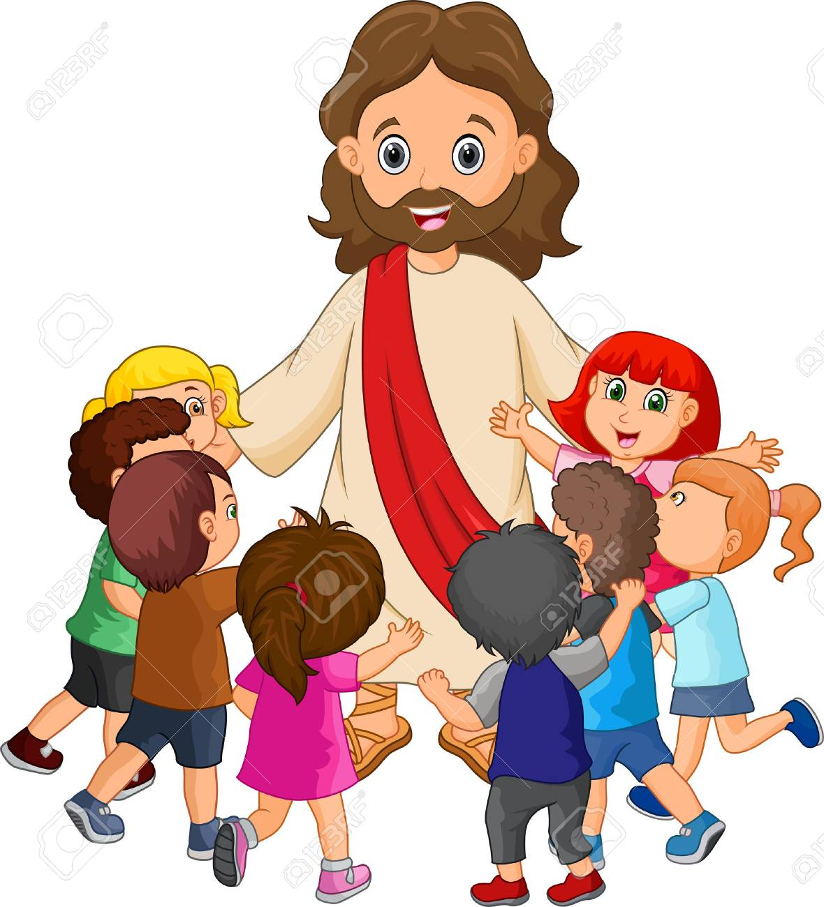 Cartoon Jesus Christ being surrounded by children.