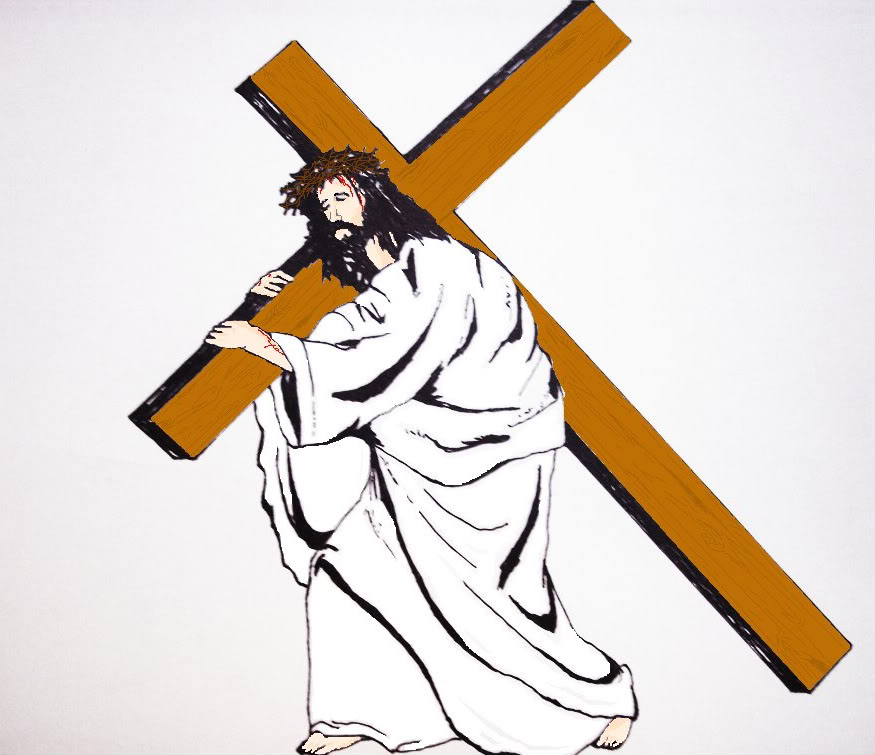 Jesus carrying cross spotlight clipart clipartfox.
