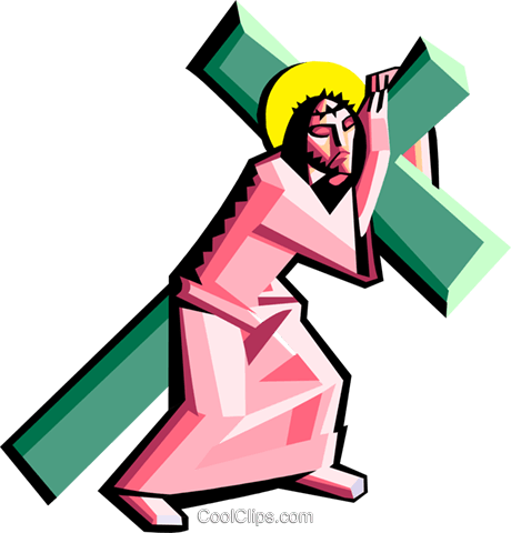 Jesus carrying the cross Royalty Free Vector Clip Art illustration.