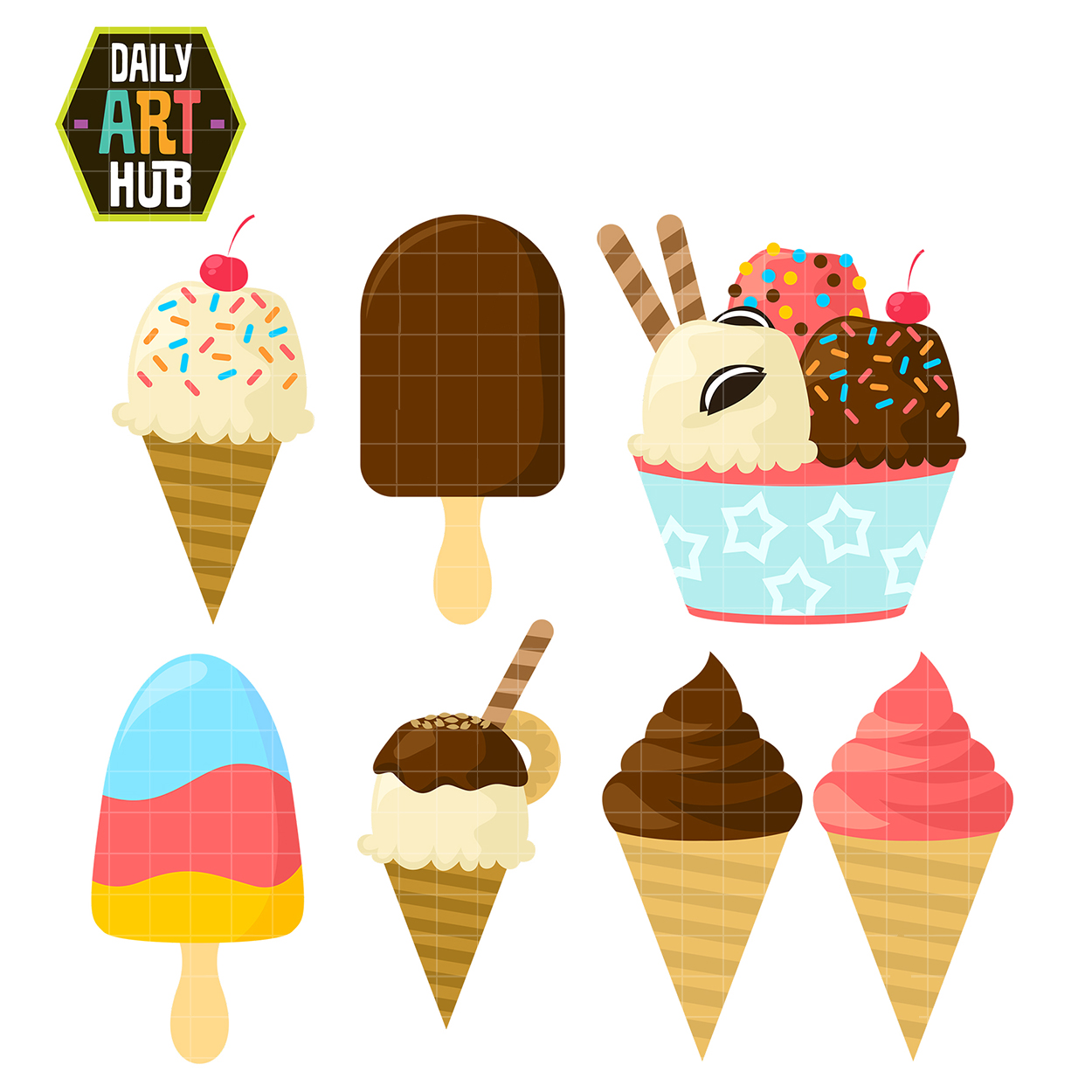 Yummy Ice Cream Clip Art Set.