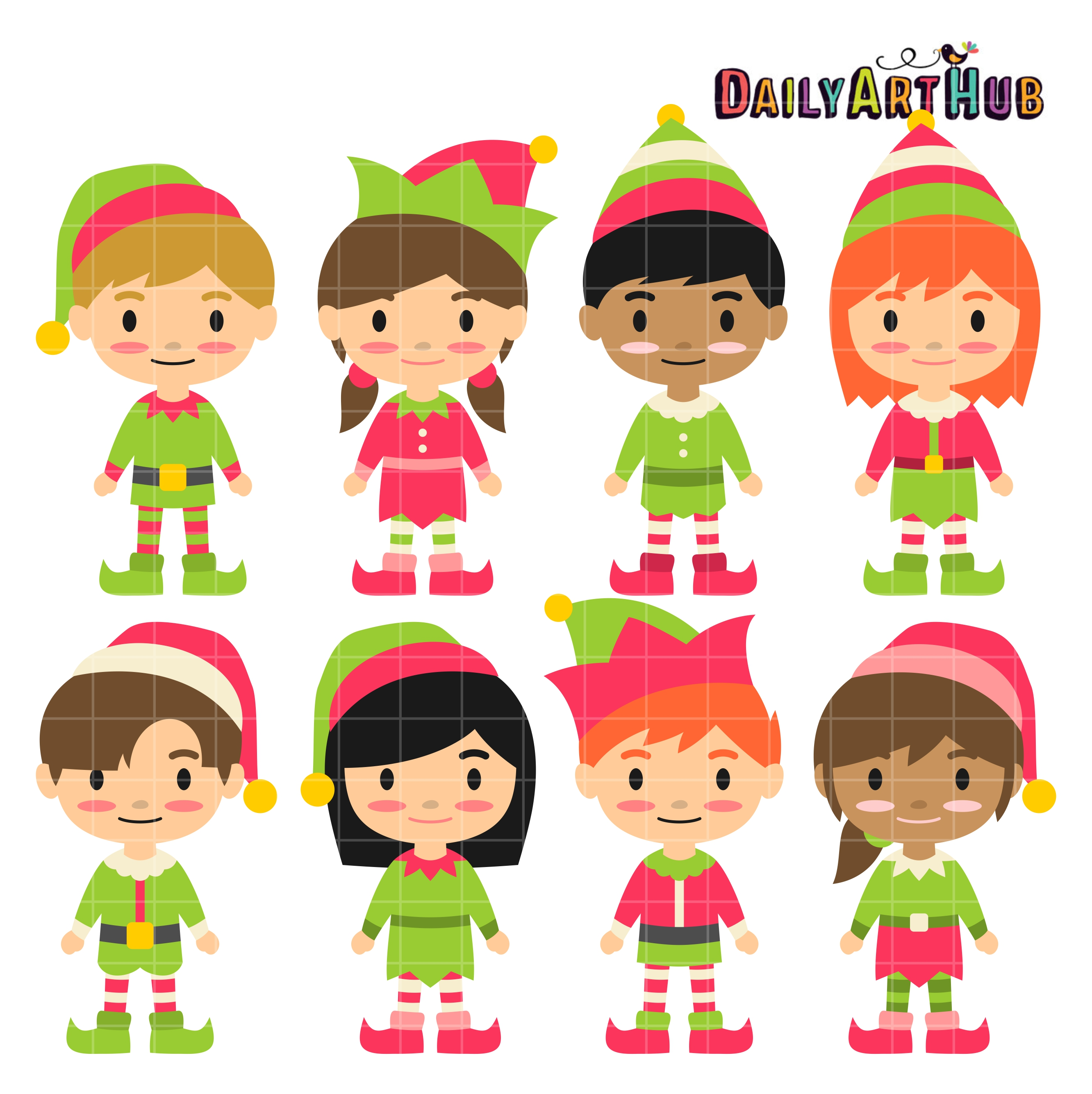 Christmas Elf Kids Clip Art Set.