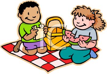 Royalty Free Clip Art Image: Children Eating a Picnic.