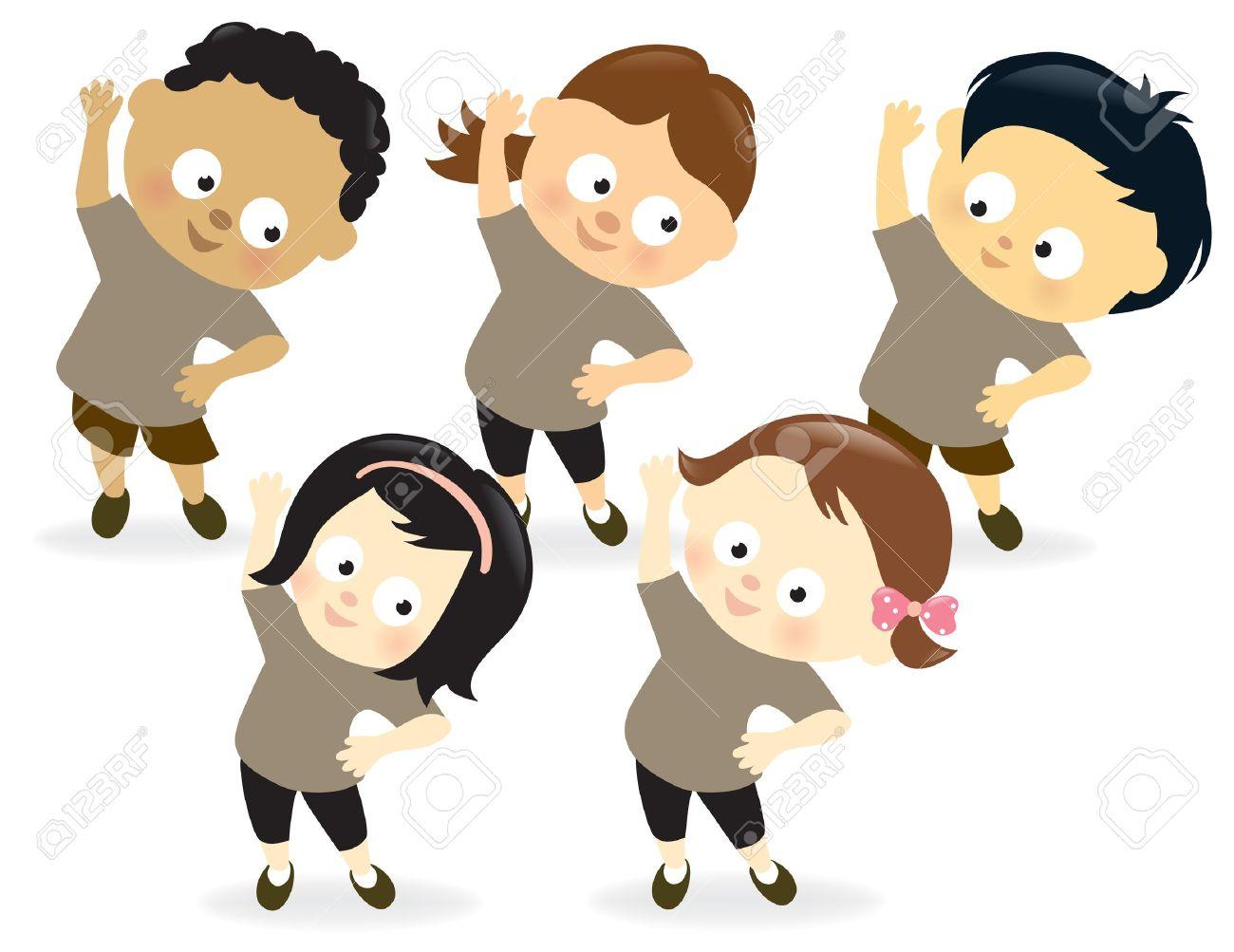 Kids exercising.