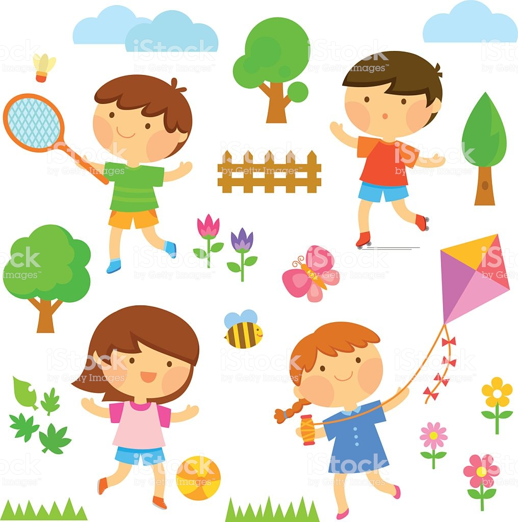 Kids Playing Outside Stock Illustration.