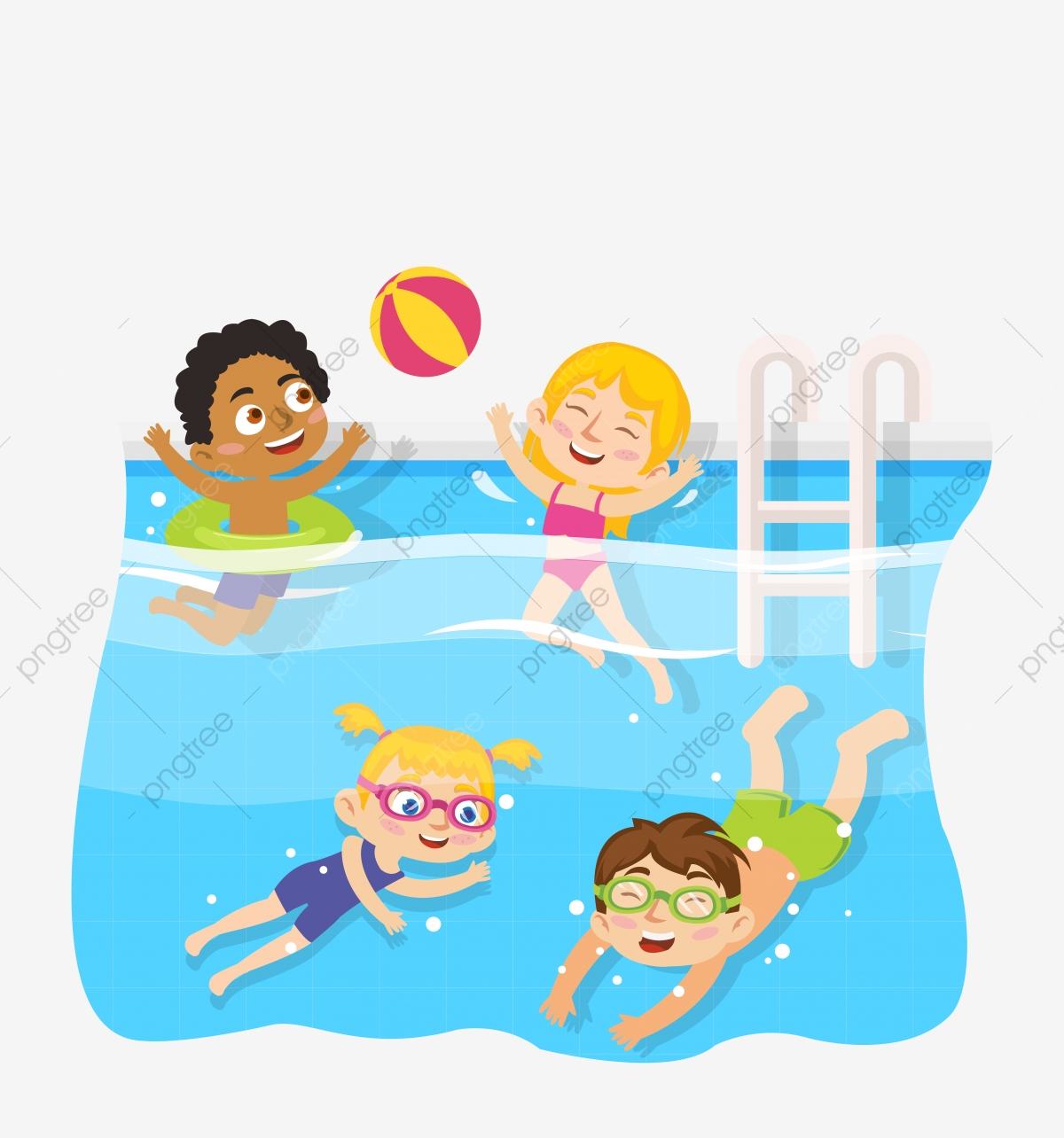 Kid Swimming Pool, Children Swimming, Learning To Swim, Children On.