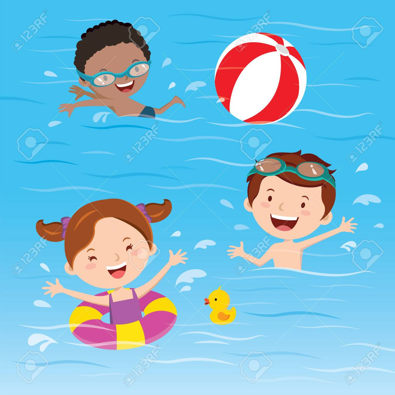 Kids having fun in the swimming pool.
