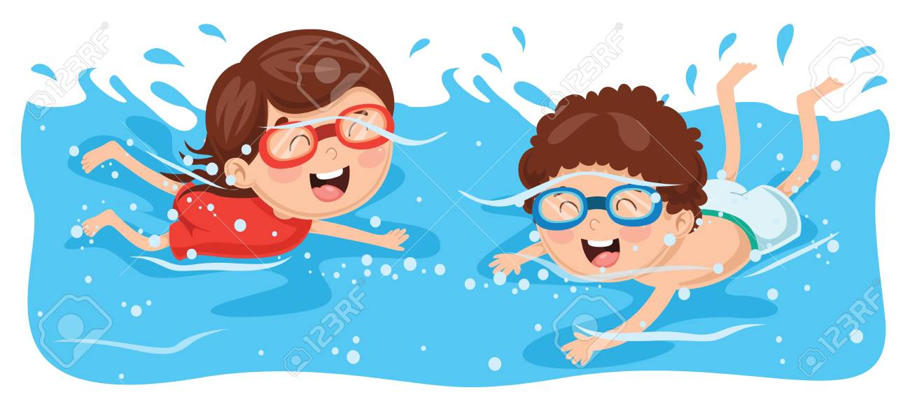 Vector Illustration Of Kid Swimming.