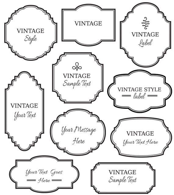 Vintage Labels Clip Art // Digital Frames PNG Vector // Apothecary Lotion  Perfume Bottles Jars // Printable Instant Download // Black White.