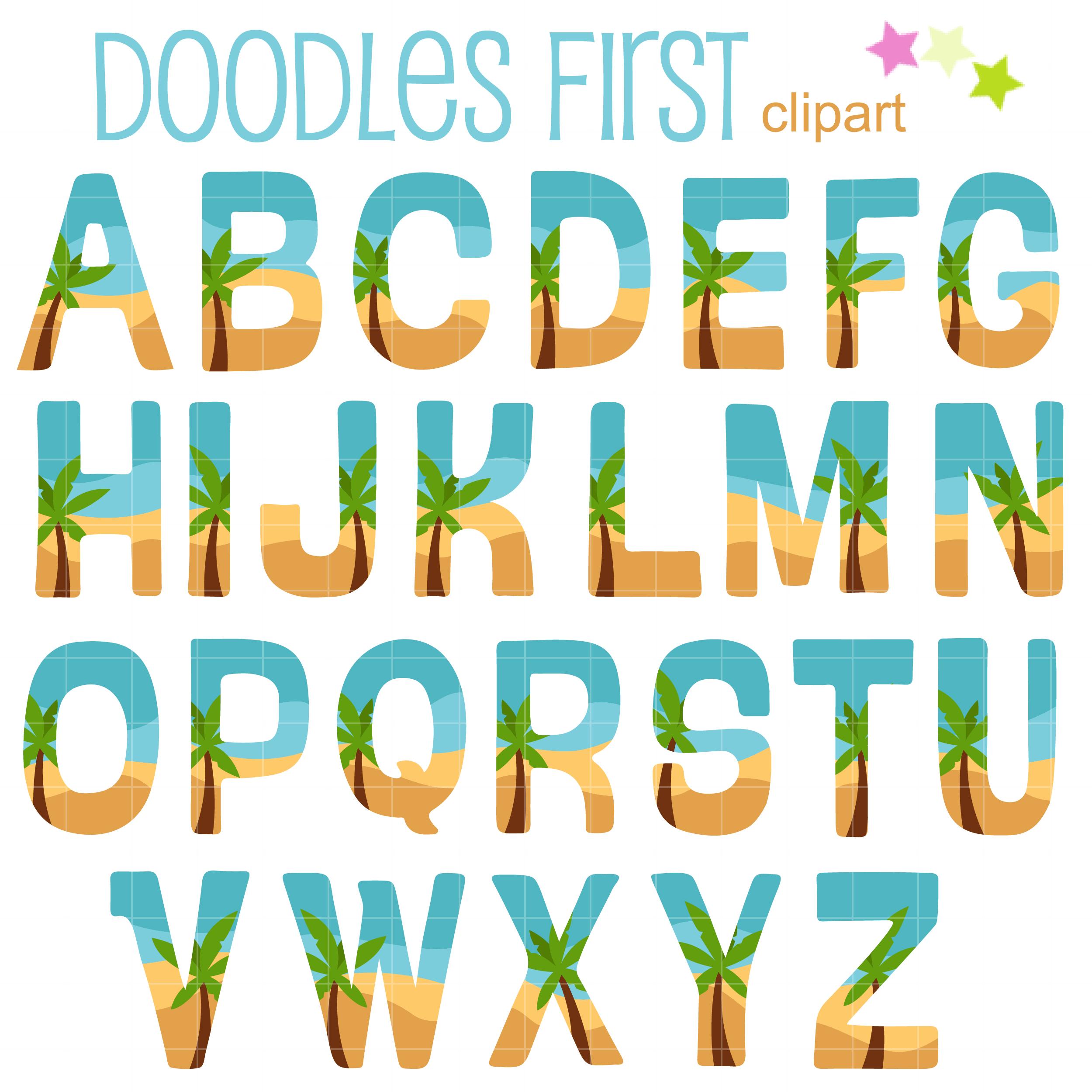 Tropical Beach Letter Clip Art Set.