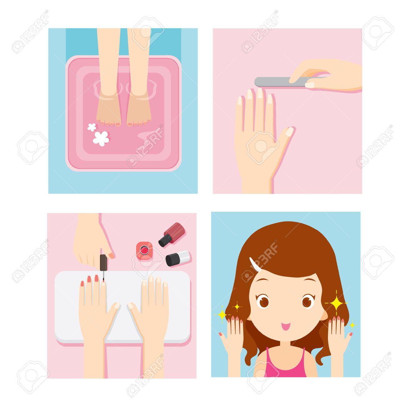 Relaxing Girl In Nail Salon Set, Beauty Shop, Manicure, Pedicure,...