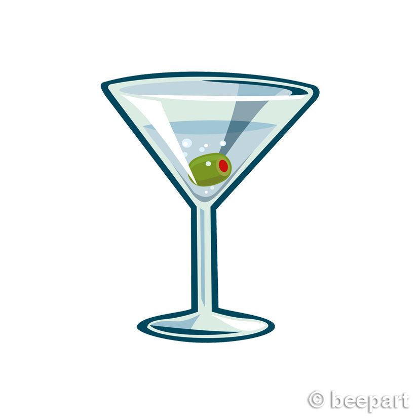 martini clip art, cocktail glass illustration, royalty free, INSTANT.