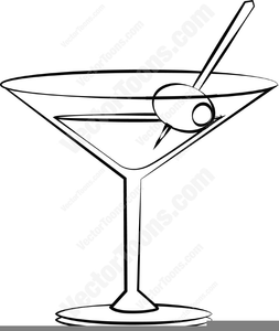 Clipart Martini Glass With Olive.
