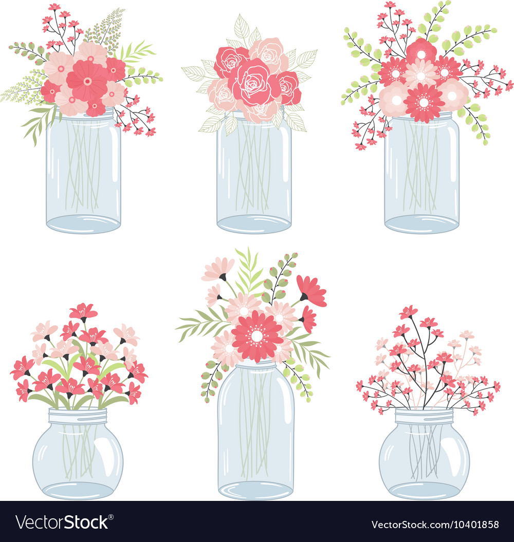 Wedding Pink Flowers In Mason Jars.