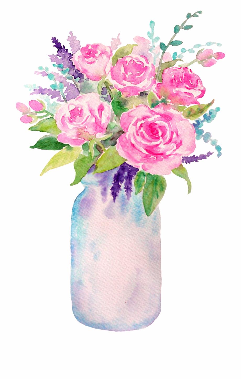 Flower Filled Mason Jar Free PNG Images & Clipart Download.