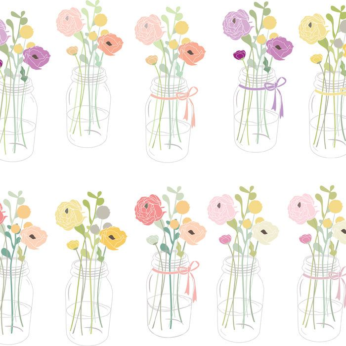 Flowers in Mason Jar Clip Art.