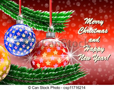 Merry Christmas and Happy New Year greetings card.
