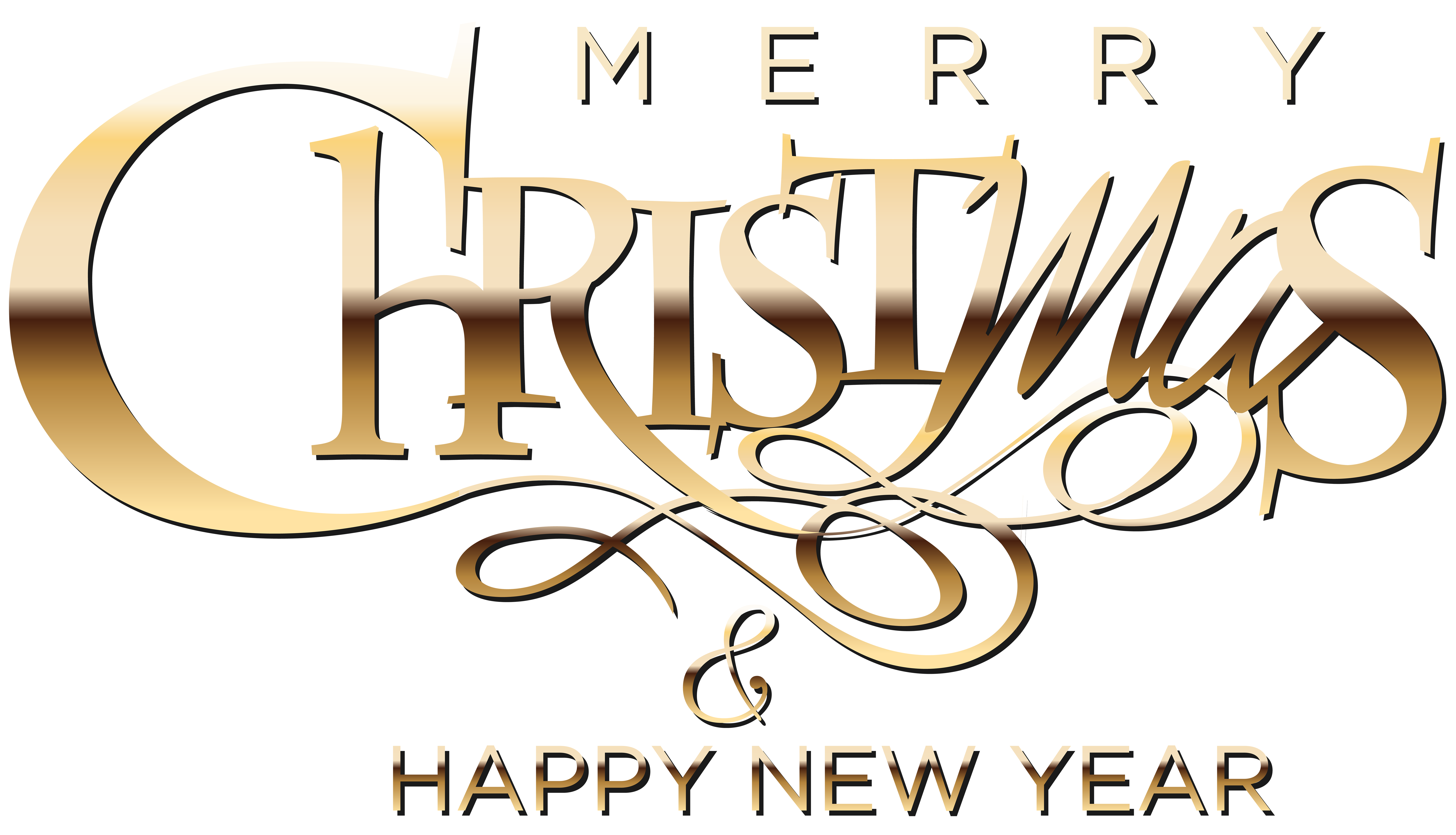 Merry Christmas and Happy New Year Clip Art Image.