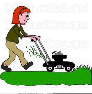 Clipart Boy Mowing Lawn.