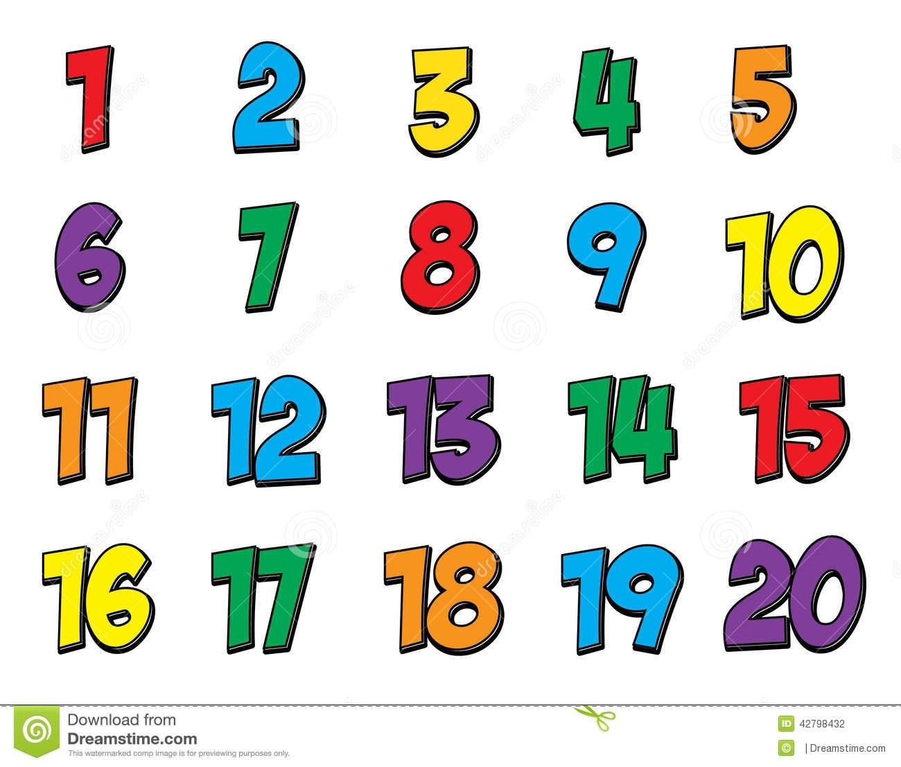 Free Clip Art Numbers 1 To 20.